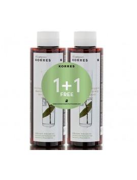 Korres Σαμπουάν με Δάφνη & Echinacea για Πιτυρίδα & Ξηροδερμια (1+1 Δώρο) 2x250ml