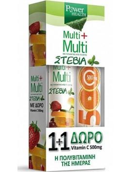 Power Health Multi+Multi με Στέβια 24eff.tabs & Vitamin C 500mg 20eff.tabs