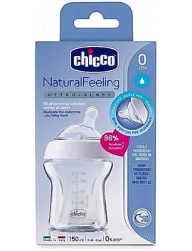 Chicco Γυάλινο Μπιμπερό Natural Feeling με Θηλή Σιλικόνης Λευκό 0m+ 150ml