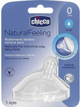 Chicco Θηλή Σιλικόνης Natural Feeling Αργής Ροής 0m+