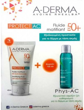 A-Derma Protect AC Fluide Matifiant SPF50+ - 40ml & Phys-AC Gel Moussant 100ml