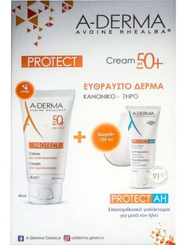 A-Derma Protect Creme SPF50+ - 40ml & Protect AH Repairing Lotion After-Sun 100ml