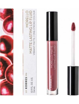 Korres Morello Matte Lasting Lip Fluid No10 Damask Rose - 3,4ml