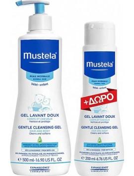Mustela Gentle Cleansing Gel 500ml & ΔΩΡΟ Gentle Cleansing Gel 200ml