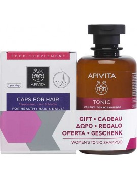 Apivita Caps For Hair - 30caps & ΔΩΡΟ Women's Tonic Shampoo - 250ml