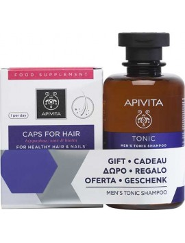 Apivita Caps For Hair - 30caps & ΔΩΡΟ Men's Tonic Shampoo - 250ml