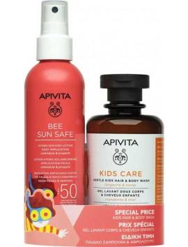 Apivita Bee Sun Safe Hydra Sun Kids Lotion SPF50 - 200ml & Apivita Kids Care Hair & Body Wash - 250ml