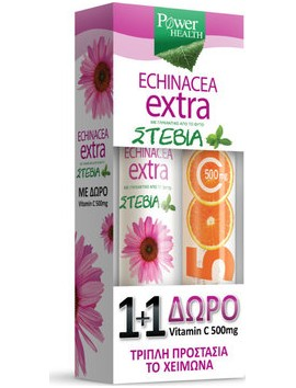 Power Health Echinacea Extra με Στέβια 24eff.tabs & Δώρο Vitamin C 500mg 20eff.tabs